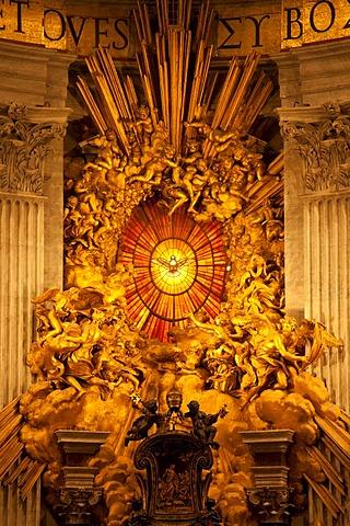 Bernini's Cathedra Petri in St. Peter's Basilica, Vatican City, Rome, Lazio, Italy, Europe