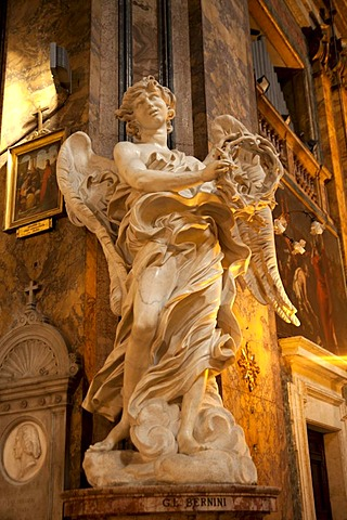 Angel sculpture, Church of Sant'Andrea delle Fratte with marble statues by Gian Lorenzo Bernini in Rome, Italy, Europe