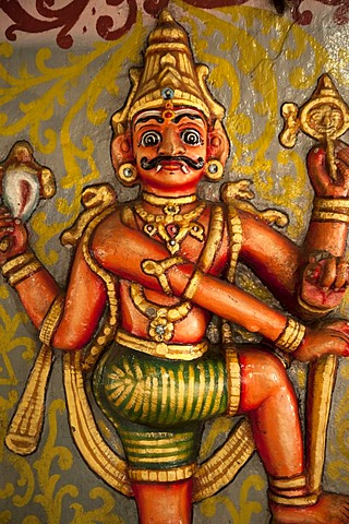 Colorful multi-armed Hindu deity in a Hindu temple in Kandy, Sri Lanka, Asia