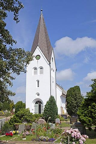 Church, village of Nebel, Amrum Island, North Friesland, Schleswig-Holstein, Germany, Europe, PublicGround