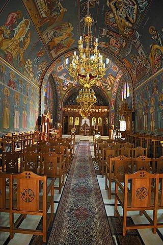 Interior, church of Agios Nektarios at Archipoli, Rhodes, Greece, Europe