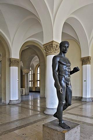 Doriphoros designed by Polykleitos, around 440 BC, copy in the Ludwig-Maximilians-Universitaet university or LMU, Munich, Bavaria, Germany, Europe