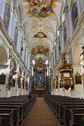 Nave, parish church of St. Peter, Munich, Bavaria, Germany, Europe