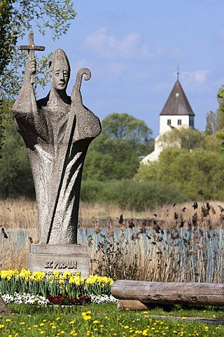 Statue of Saint Pirmin at the entrance of Reichenau Island, facing the Church of St. Georg, Reichenau Island, Konstanz district, Baden-Wuerttemberg, Germany, Europe