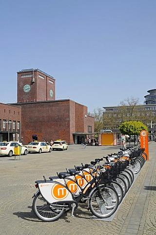 Metrorad-Ruhr, bike rental station, train station, Oberhausen, Ruhrgebiet area, North Rhine-Westphalia, Germany, Europe