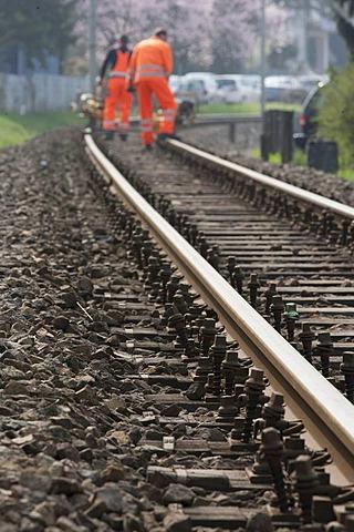 Track works, Heidelberg, Baden-Wuerttemberg, Germany, Europe