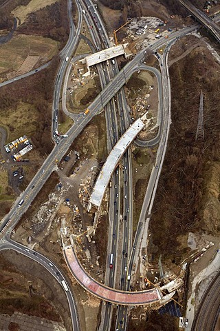 Aerial view, construction site, expansion of the highway A40 B1 Ruhrschnellweg Donetsk-Ring bridges, Wattenscheid, Bochum, Ruhr Area, North Rhine-Westphalia, Germany, Europe