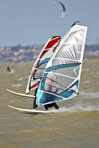 Windsurfers, action shot, on Neusiedler See, Lake Neusiedl, Burgenland, Austria, Europe