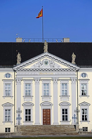 Main entrance with a flag of the Federal President, Schloss Bellevue Palace, seat of the German Federal President, Berlin, Germany, Europe