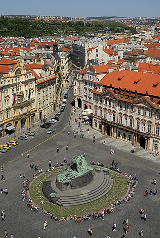Cityscape view from the Old Town Hall and the Old Town Square, Staromestske namesti, Praque, Czech Republic, Europe