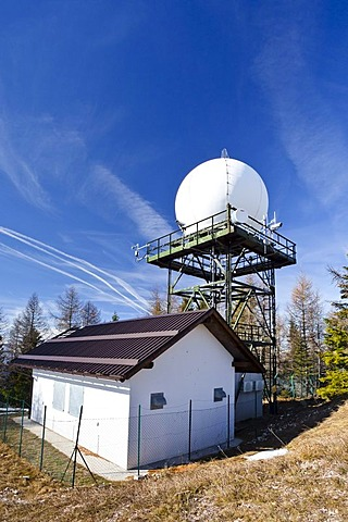 Precipitation Radar Station on Gantkofel Mountain, Mendel Ridge, Alto Adige, Italy, Europe