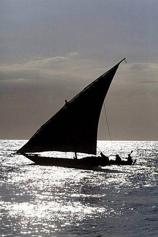 Arab dhow off the coast of Stone Town, Zanzibar, Tanzania, Africa