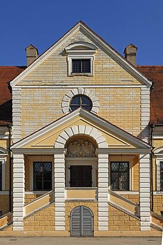 Entrance facade of Old Schleissheim Palace, 1617 - 1623, Maximilianshof courtyard, Oberschleissheim, Bavaria, Germany, Europe