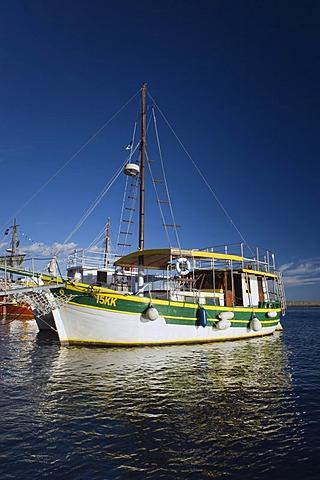 Excursion boat in the port of Krk, Krk island, Kvarner Gulf, Croatia, Europe