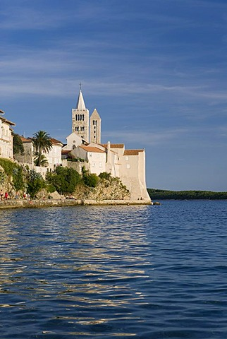 Bell towers of the churches of St. Mary and the St. Andrew's monastery, Rab, Rab island, Kvarner Gulf, Croatia, Europe