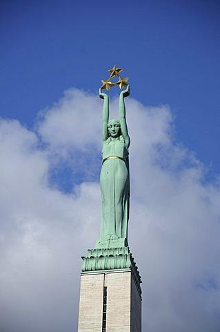 Brivibas Piemineklis Freedom Monument, Riga, historic centre, Latvia, Baltic States, Northern Europe