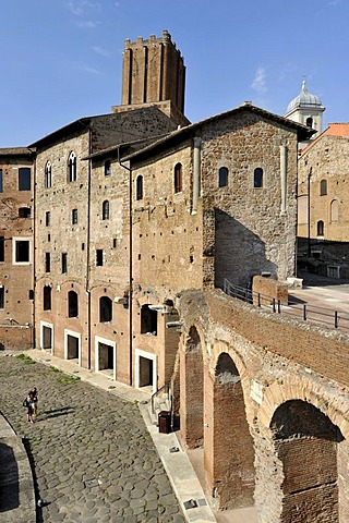 Tabernae or single room shops in the ancient street of Via Biberatica at Trajan's Market, in front of the Torre delle Milizie, Militia Tower, Via Alessandrina, Via dei Fori Imperiali, Rome, Lazio, Italy, Europe