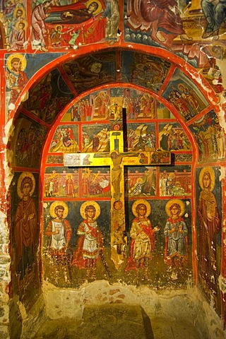 Byzantine fresco painted in one of the painted Greek-Orthodox barn-roofed churches in the UNESCO World Heritage Region of Troodos, Troodos Mountains, Cyprus