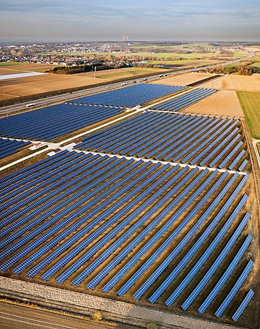 Aerial view, solar panels, photovoltaics array, motorway, nuclear power station, Bubesheim, Swabia, Germany, Europe