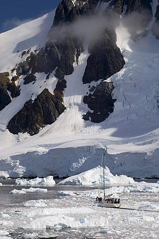 Sailing ship, Lemaire Channel, Antarctic Peninsula, Antarctica