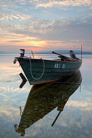 Fishing boat at the island of Reichenau, Baden-Wuerttemberg, Germany, Europe