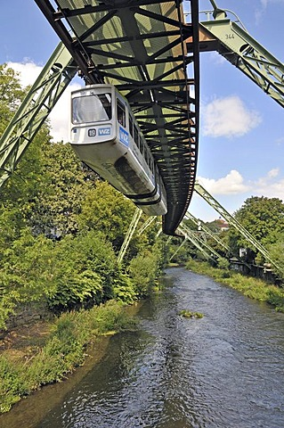 Wuppertal Floating Tram suspended monorail, Wuppertal, Bergisches Land region, North Rhine-Westphalia, Germany, Europe