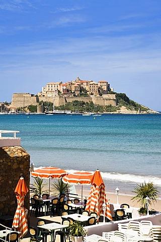 Cafe on the beach near Calvi, Corsica, mediterranean sea, France, Europe