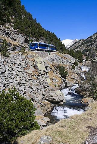 Cremallera de Nuria rack railway in the Vall de Nuria valley, Pyrenees, northern Catalonia, Spain, Europe