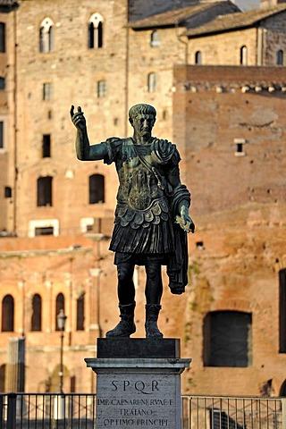 Bronze statue of the Roman Emperor Trajan, Trajan's Market, Via Alessandrina, Via dei Fori Imperiali, Rome, Lazio, Italy, Europe