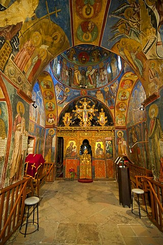 Byzantine frescoes in a painted barn-roofed Greek Orthodox church, UNESCO World Heritage Site, Troodos Mountains, Cyprus