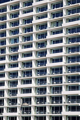 Many balconies, uniform, windows, facade, high-rise building, hotel, Antofagasta, Norte Grande region, Northern Chile, Chile, South America