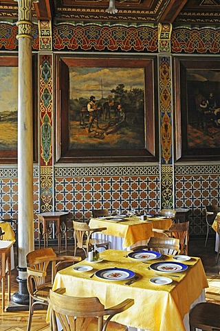 Set tables, Club Espanol, Casino, Spanish Club, restaurant, historic building, Spanish tiles, Moorish style, Plaza Arturo Prat square, Iquique, Norte Grande, Northern Chile, Chile, South America