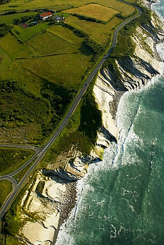 Aerial view of the coast near St Jean de Luz, France