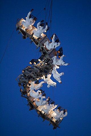 Trapeze artists, Global Rheingold, performance by Catalan theatre group La Fura dels Baus, European Capital of Culture Ruhr.2010, Ruhrort, Duisburg, Ruhr Area, North Rhine-Westphalia, Germany, Europe