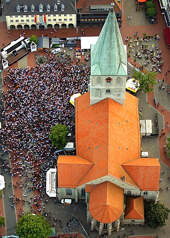 Aerial picture, public screening, Football World Cup 2010, the match Germany vs Australia 4-0 being shown in front of St. Paul's Church, Hamm, North Rhine-Westphalia, Germany, Europe