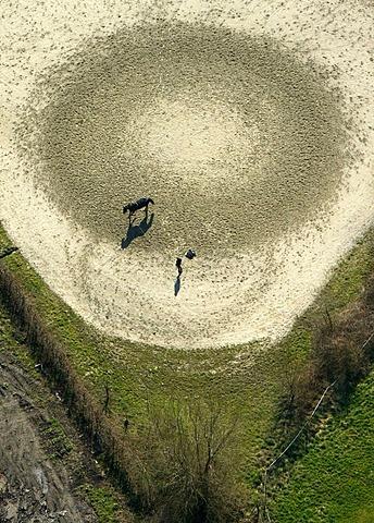 Aerial view, equestrian facility, vaulting, Kamen, Ruhrgebiet region, North Rhine-Westphalia, Germany, Europe