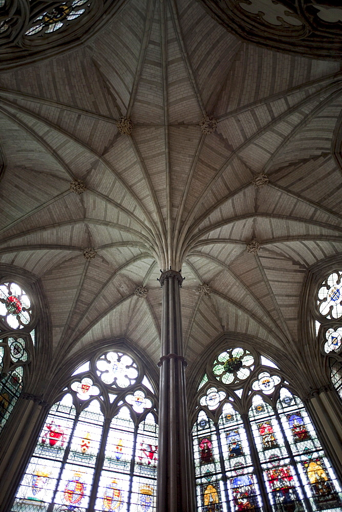 Fan vaulted ceiling of the Chapter House, Westminster Abbey, London, England, United Kingdom, Europe