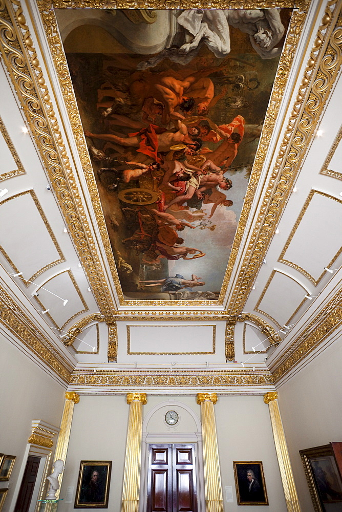 State Dining Room showing ceiling painting of the Triumph of Bacchus by Sebastiano Ricci, Royal Academy of Arts, Burlington House, Piccadilly, London, England, United Kingdom, Europe