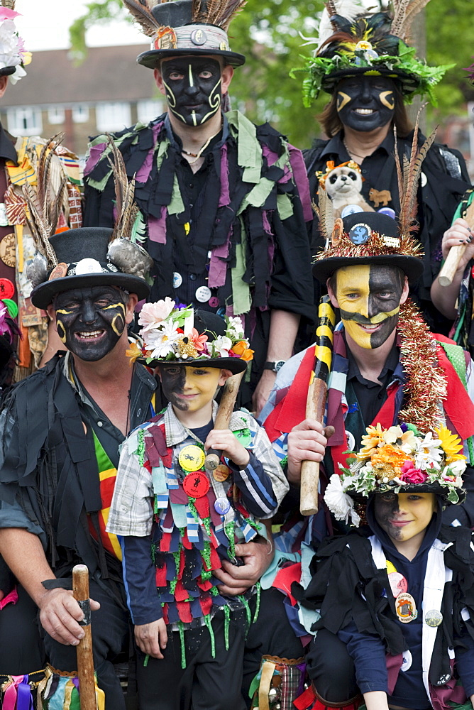 Morris Dancers at the Annual Sweeps Festival, Rochester, Kent, England, United Kingdom, Europe