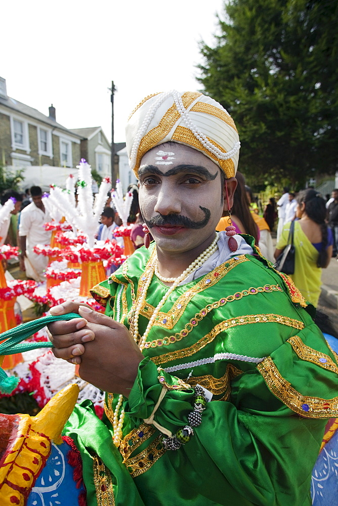 Chariot Festival participant, Shri Kanaga Thurkkai Amman Temple, Ealing, London, England, United Kingdom, Europe