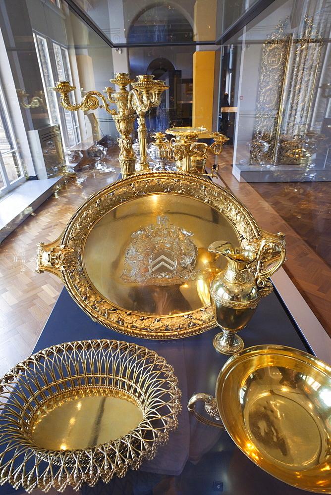Exhibit of English silverware, Victoria and Albert Museum, London, England, United Kingdom, Europe