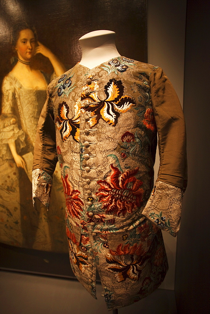 Silk waistcoat dating from 1734, Victoria and Albert Museum, London, England, United Kingdom, Europe