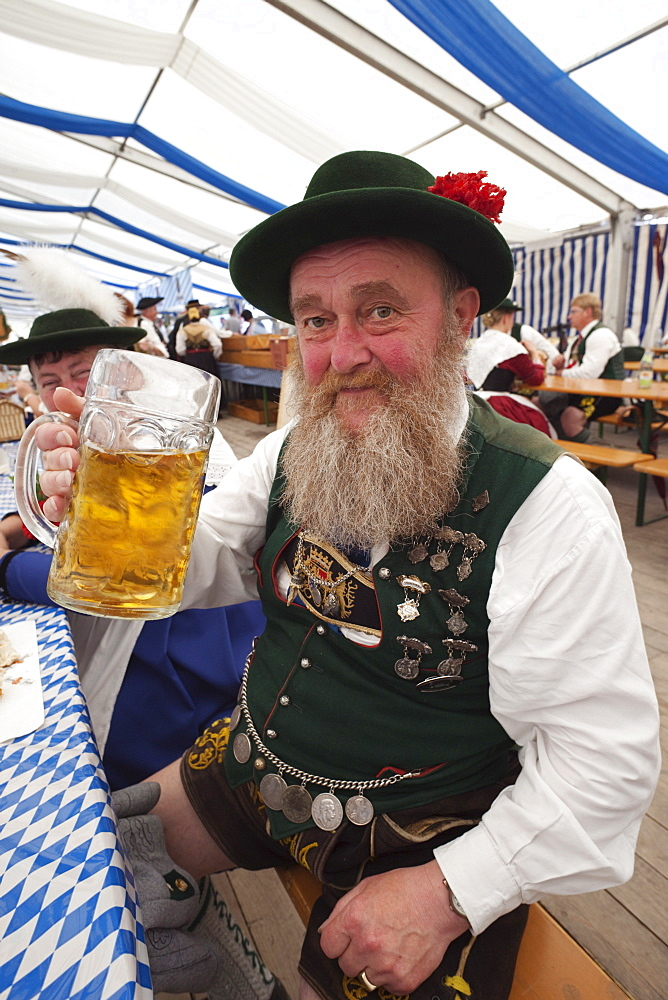 Old man in Bavarian costume, Oktoberfest, Munich, Bavaria, Germany, Europe - 834-1491