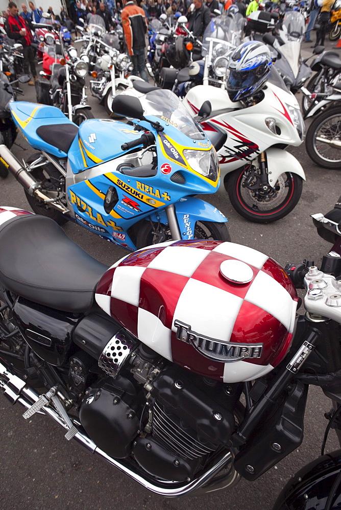 Motorbike detail at the Ace Cafe, London, England, United Kingdom, Europe