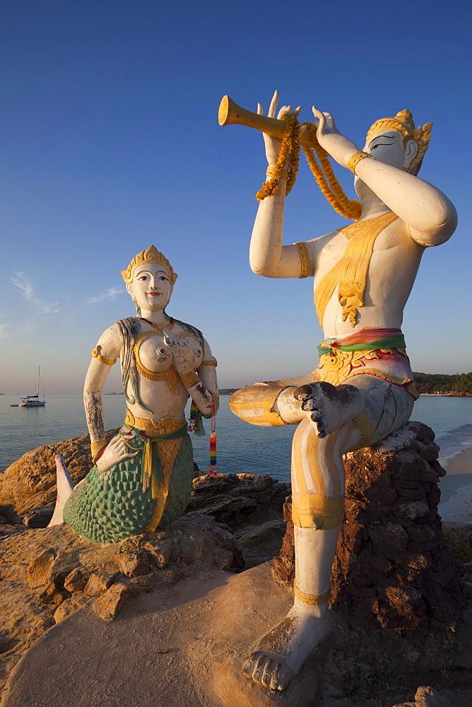 Flute Player and Mermaid Statue, Saikaew Beach, Ko Samet, Thailand, Southeast Asia, Asia