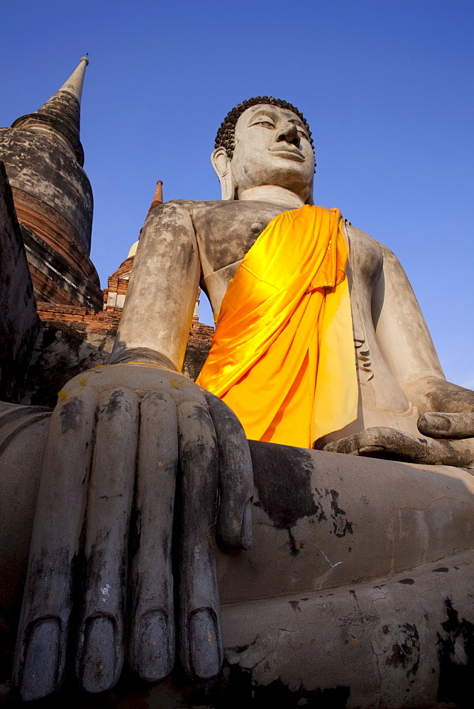 Buddha statue at Wat Yai Chai Mongkhon, Ayutthaya Historical Park, UNESCO World Heritage Site, Ayutthaya, Thailand, Southeast Asia, Asia