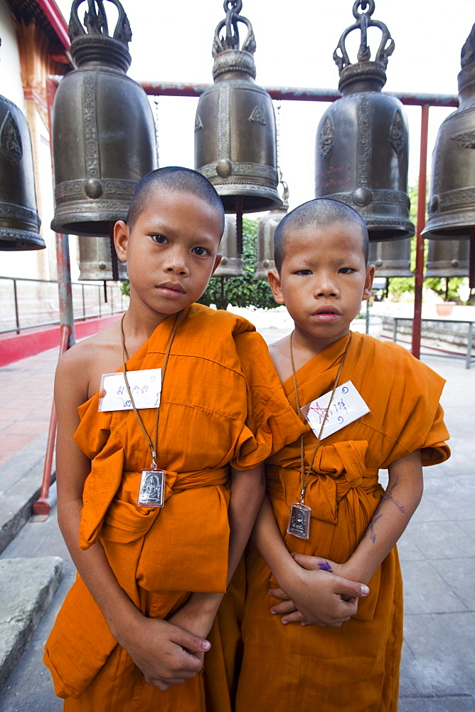 Young monks, Ayutthaya Historical Park, Ayutthaya, Thailand, Southeast Asia, Asia