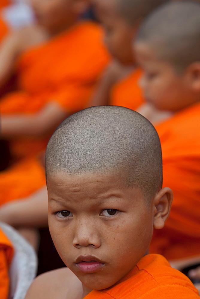 Young monk, Ayutthaya Historical Park, Ayutthaya, Thailand, Southeast Asia, Asia