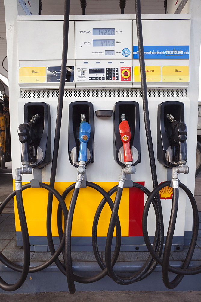 Petrol pumps at petrol station, Bangkok, Thailand, Southeast Asia, Asia