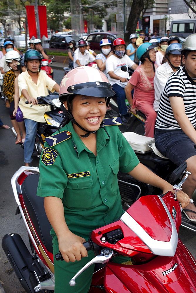 Motorbike traffic, Ho Chi Minh City, Vietnam, Indochina, Southeast Asia, Asia